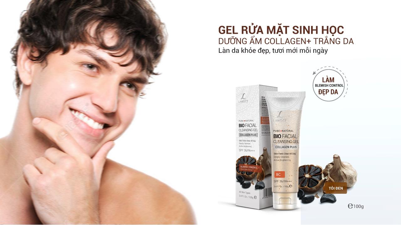 LANGCE - Gel rửa mặt sinh học đẹp da collagen - tỏi đen